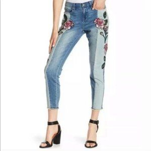 William Rast Embroidered Ankle Skinny Jeans 27